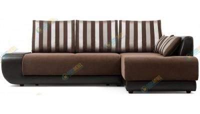Сток Мебели Нью-Йорк (Поло) Страйп Браун диван угловой арт. 163240-ШР