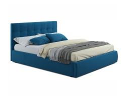 """Мягкая кровать """"Selesta"""" 1600 синяя с матрасом ГОСТ с фото"""