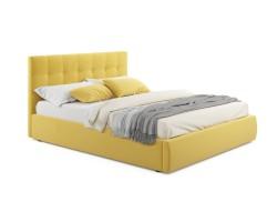 """Мягкая кровать """"Selesta"""" 1600 желтая с матрасом ГОСТ с фото"""
