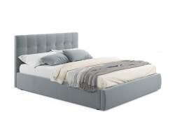 """Мягкая кровать """"Selesta"""" 1600 серая с матрасом ГОСТ с фото"""