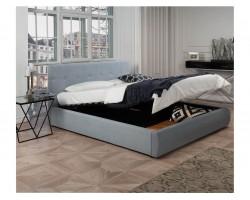 """Мягкая кровать """"Selesta"""" 1800 серая с матрасом ГОСТ с фото"""