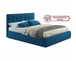 """Мягкая кровать """"Selesta"""" 1600 синяя с ортопед.основани фото"""
