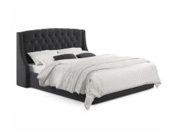 """Мягкая кровать """"Stefani"""" 1600 темная с ортопед. основа фото"""