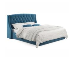 """Мягкая кровать """"Stefani"""" 1600 синяя с ортопед. основан фото"""