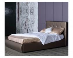 Мягкая кровать Селеста 1200 мокко с ортопед.основанием с матрасо фото