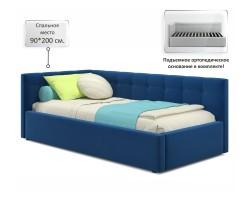Односпальная кровать-тахта Bonna 900 синяя ортопед.основание фото
