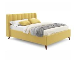 Мягкая кровать Betsi 1600 желтая с подъемным механизмом и матрас фото