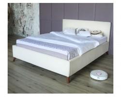 Мягкая кровать Monika 1600 беж c ортопедическим основанием и мат фото