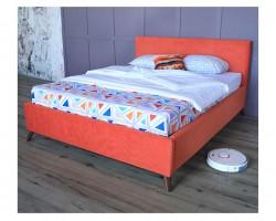 Мягкая кровать Monika 1600 оранж c ортопедическим основанием и фото