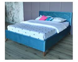 Мягкая кровать Monika 1600 синяя ортопед.основание с матрасом PR фото