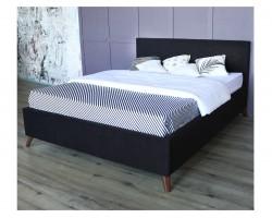 Мягкая кровать Monika 1600 темная ортопед.основание с матрасом А фото