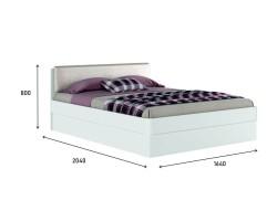 """Белая двуспальная кровать """"Николь ЭКО узор"""" 1600 с фото"""