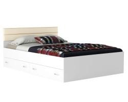 Кровать Виктория-МБ 140 с ящиками белая с матрасом ГОСТ фото