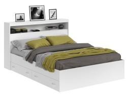 Кровать Виктория белая 160 с блоком и ящиками фото