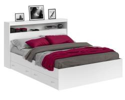 Кровать Виктория белая 180 с блоком и ящиками фото