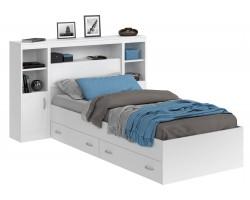 Кровать Виктория белая 90 с блоком, тумбами и ящиками фото