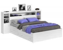 Кровать Виктория белая 140 с блоком, тумбами и ящиками фото