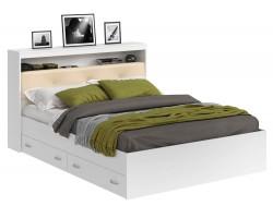 Кровать Виктория ЭКО-П белая 140 с блоком и ящиками фото