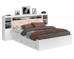 Кровать Виктория ЭКО-П белая 140 с блоком, тумбами и ящиками фото