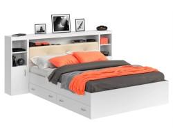 Кровать Виктория ЭКО-П белая 160 с блоком, тумбами и ящиками фото