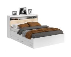 Кровать Виктория ЭКО-П белая 140 с блоком и ящиками с матрасом Г фото