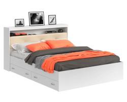 Кровать Виктория ЭКО-П белая 180 с блоком и ящиками с матрасом P фото