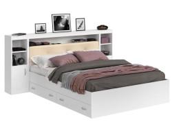 Кровать Виктория ЭКО-П белая 180 с блоком, тумбами и ящиками с фото