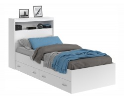 Кровать Виктория белая 90 с блоком, ящиками и матрасом ГОСТ фото