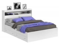 Кровать Виктория белая 140 с блоком, ящиками и матрасом ГОСТ фото