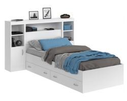 Кровать Виктория белая 90 с блоком, тумбами, ящиками и матрасом  фото