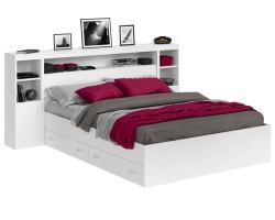 Кровать Виктория белая 180 с блоком, тумбами, ящиками и матрасом фото
