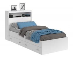 Кровать Виктория белая 90 с блоком, ящиками и матрасом PROMO B C фото