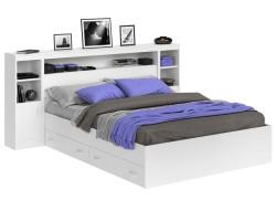 Кровать Виктория белая 140 с блоком, тумбами, ящиками и матрасом фото