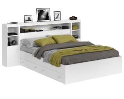 Кровать Виктория белая 160 с блоком, тумбами, ящиками и матрасом фото