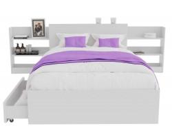 Кровать Доминика с блоком и ящиками 120 (Белый) с матрасом АСТРА фото